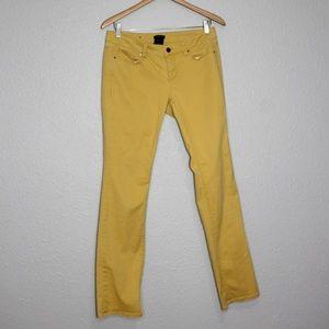 Ann Taylor Modern Mustard Yellow Straight Jeans 4